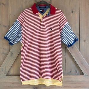 Tommy Hilfiger striped polo shirt vtg mens m med